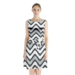 Shades Of Grey And White Wavy Lines Background Wallpaper Sleeveless Chiffon Waist Tie Dress by Simbadda