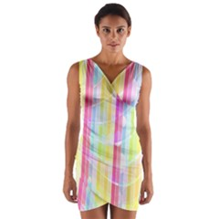 Colorful Abstract Stripes Circles And Waves Wallpaper Background Wrap Front Bodycon Dress by Simbadda