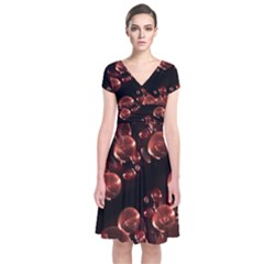 Fractal Chocolate Balls On Black Background Short Sleeve Front Wrap Dress by Simbadda