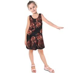 Fractal Chocolate Balls On Black Background Kids  Sleeveless Dress by Simbadda
