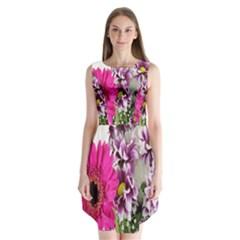 Purple White Flower Bouquet Sleeveless Chiffon Dress   by Simbadda