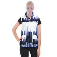 Abstract Of Downtown Chicago Effects Women s Button Up Puffer Vest
