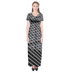 Abstract Architecture Pattern Short Sleeve Maxi Dress