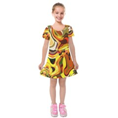 Colourful Abstract Background Design Kids  Short Sleeve Velvet Dress by Simbadda