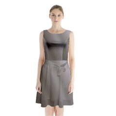 Fractal Background With Grey Ripples Sleeveless Chiffon Waist Tie Dress by Simbadda