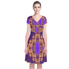 Something Different Fractal In Orange And Blue Short Sleeve Front Wrap Dress by Simbadda