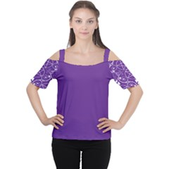 Purple With White Pagan Pentacle Wiccan Cold Shoulder Tee by cheekywitch