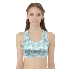 Decorative Floral Paisley Pattern Sports Bra With Border by TastefulDesigns