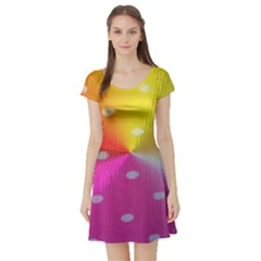 Polka Dots Pattern Colorful Colors Short Sleeve Skater Dress by Simbadda