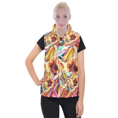 Colourful Abstract Background Design Women s Button Up Puffer Vest by Simbadda