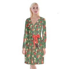 Berries And Leaves Long Sleeve Velvet Front Wrap Dress by Simbadda