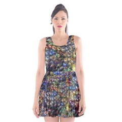 Multi Color Peacock Feathers Scoop Neck Skater Dress by Simbadda
