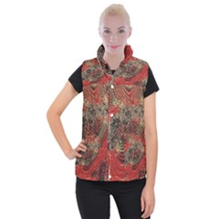 Red Gold Black Background Women s Button Up Puffer Vest by Simbadda