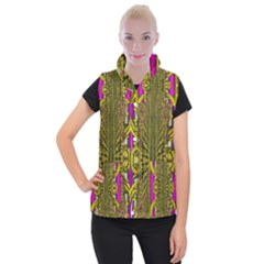 Fractal In Purple And Gold Women s Button Up Puffer Vest