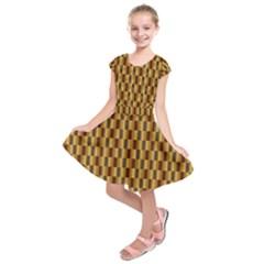 Gold Abstract Wallpaper Background Kids  Short Sleeve Dress by Simbadda