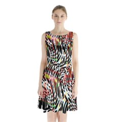 Abstract Composition Digital Processing Sleeveless Chiffon Waist Tie Dress by Simbadda