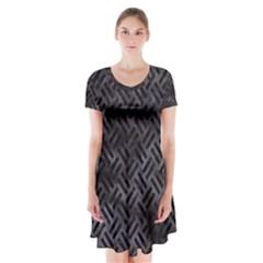 Woven2 Black Marble & Black Watercolor (r) Short Sleeve V Neck Flare Dress by trendistuff