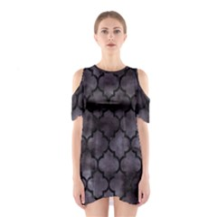 Tile1 Black Marble & Black Watercolor (r) Shoulder Cutout One Piece by trendistuff