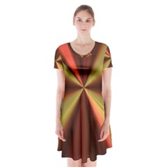 Copper Beams Abstract Background Pattern Short Sleeve V Neck Flare Dress by Simbadda