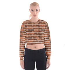 Brick Brown Line Texture Women s Cropped Sweatshirt by Mariart