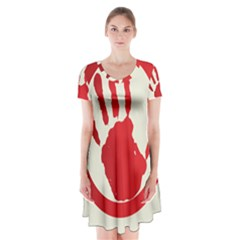 Bloody Handprint Stop Emob Sign Red Circle Short Sleeve V Neck Flare Dress by Mariart