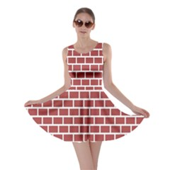 Brick Line Red White Skater Dress by Mariart