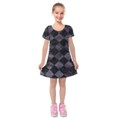 Square2 Black Marble & Black Watercolor Kids  Short Sleeve Velvet Dress by trendistuff