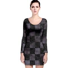 Square1 Black Marble & Black Watercolor Long Sleeve Velvet Bodycon Dress by trendistuff