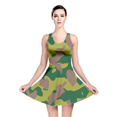 Camouflage Green Yellow Brown Reversible Skater Dress