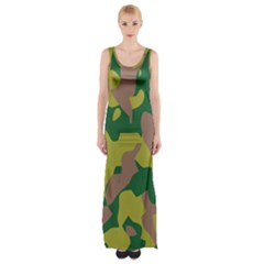 Camouflage Green Yellow Brown Maxi Thigh Split Dress by Mariart