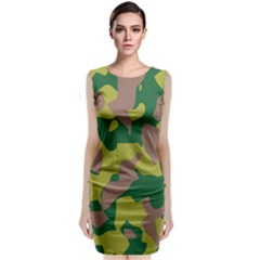 Camouflage Green Yellow Brown Classic Sleeveless Midi Dress by Mariart