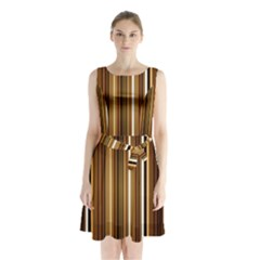 Brown Line Image Picture Sleeveless Chiffon Waist Tie Dress by Mariart