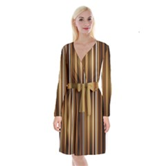 Brown Line Image Picture Long Sleeve Velvet Front Wrap Dress by Mariart