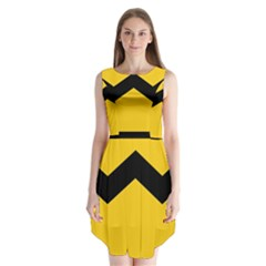 Chevron Wave Yellow Black Line Sleeveless Chiffon Dress   by Mariart