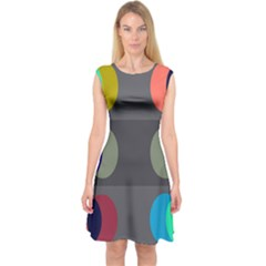 Circles Line Color Rainbow Green Orange Red Blue Capsleeve Midi Dress by Mariart