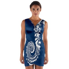 Coral Life Sea Water Blue Fish Star Wrap Front Bodycon Dress by Mariart