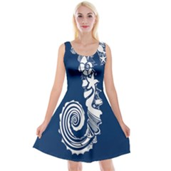 Coral Life Sea Water Blue Fish Star Reversible Velvet Sleeveless Dress by Mariart