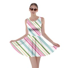 Diagonal Stripes Color Rainbow Pink Green Red Blue Skater Dress by Mariart