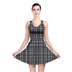 Crosshatch Target Line Black Reversible Skater Dress by Mariart