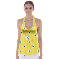 Eye Blue White Yellow Monster Sexy Image Babydoll Tankini Top