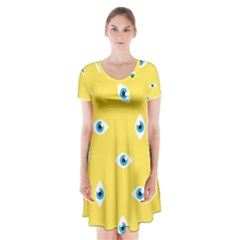 Eye Blue White Yellow Monster Sexy Image Short Sleeve V Neck Flare Dress by Mariart