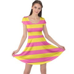 Horizontal Pink Yellow Line Cap Sleeve Dresses by Mariart