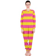 Horizontal Pink Yellow Line Onepiece Jumpsuit (ladies)  by Mariart