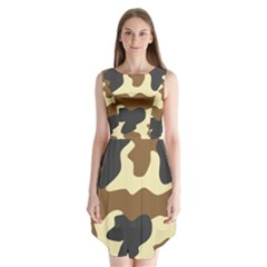 Initial Camouflage Camo Netting Brown Black Sleeveless Chiffon Dress   by Mariart