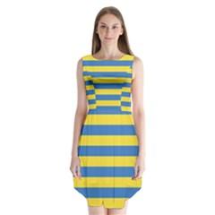 Horizontal Blue Yellow Line Sleeveless Chiffon Dress   by Mariart
