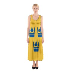 King Queen Crown Blue Yellow Sleeveless Maxi Dress