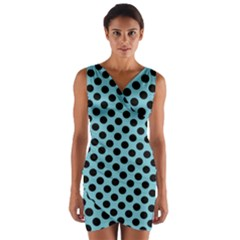 Polka Dot Blue Black Wrap Front Bodycon Dress by Mariart