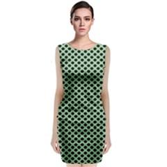 Polka Dot Green Black Classic Sleeveless Midi Dress by Mariart