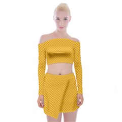 Polka Dot Orange Yellow Off Shoulder Top With Skirt Set by Mariart