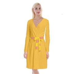 Polka Dot Orange Yellow Long Sleeve Velvet Front Wrap Dress by Mariart